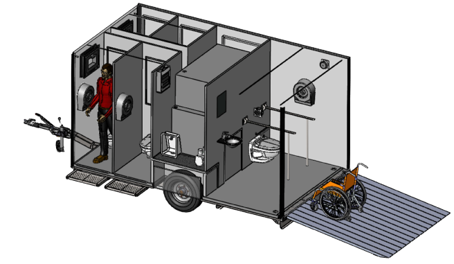 portable toilet trailer drawing